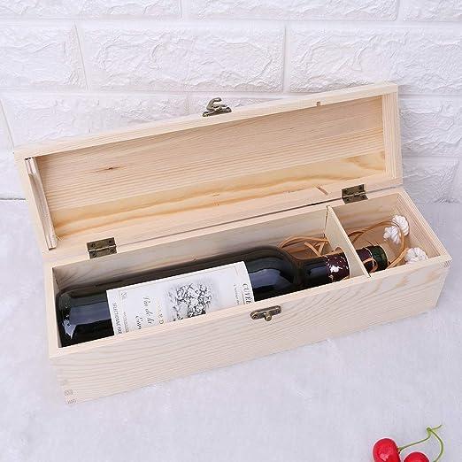 Fafalloagrron Caja de vino tinto retro vacía botella individual Paulownia caja de almacenamiento contenedor de madera de uva Whiskey caja de embalaje: Amazon.es: Hogar