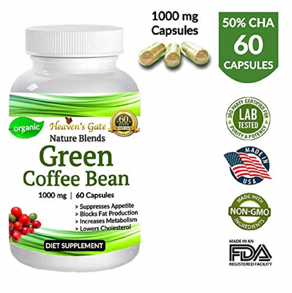 Green Coffee Bean - Weight Loss Supplement - Appetite Suppressant - 60 Capsules - 1000 mg - Organic - GMO and Gluten Free - 100% Pure - Extra Fast Weight Loss