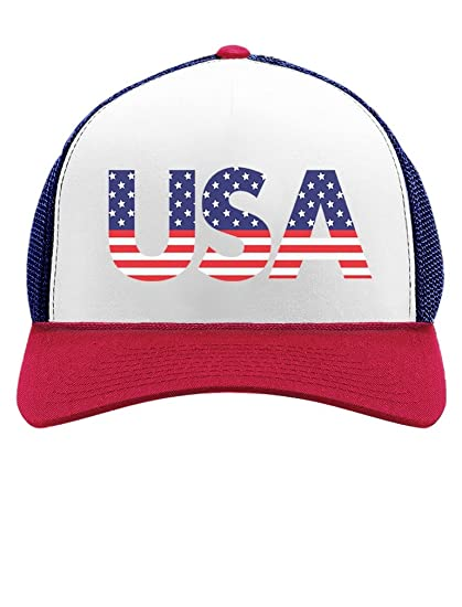 8288387c9b4 American USA Flag 4th of July Independence Day Patriot Trucker Hat Mesh Cap  One Size Blue White Red at Amazon Men s Clothing store