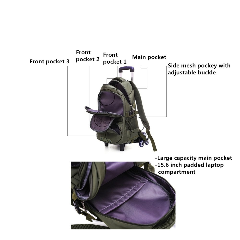 Fanci Solid Color Boys Waterproof Middle High School Rolling Trolley Backpack Travel Rucksack