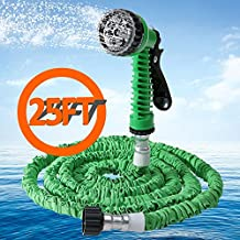 iLifeSmart Expandable Super Light Weight Hosepipe Garden Hose Water Pipe Hose Pipe with 7 Modes Spray Gun for House Washing,Car Washing,Garden Planting (Green, 25FT)