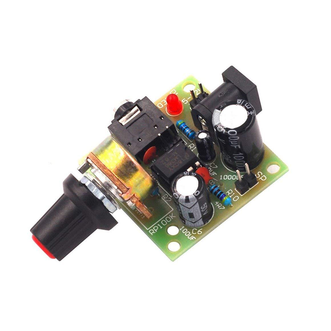 Funnyrunstore LM386 Super Mini 3V-12V Kit scheda amplificatore di potenza Kit elettronico fai-da-te Kit amplificazione audio Basso consumo