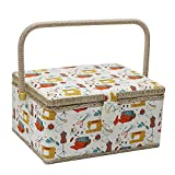D&D Large Size Classic Fabric Covered Sewing Basket with Sewing Kit Accessories - Sewing Storage Box in Sewing Necessities Pattern Print with Insert Tray & Handle - 12.2 by 9.2 by 6.4 inches - Beige