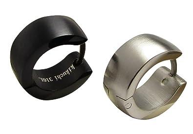 854daed43ca7 2stk. clásica pendientes de aro pendientes negro plata mate 6 mm 13 mmø  Hombres de pendientes de aro de acero inoxidable Arco de Kikuchi   Amazon.es  Joyería