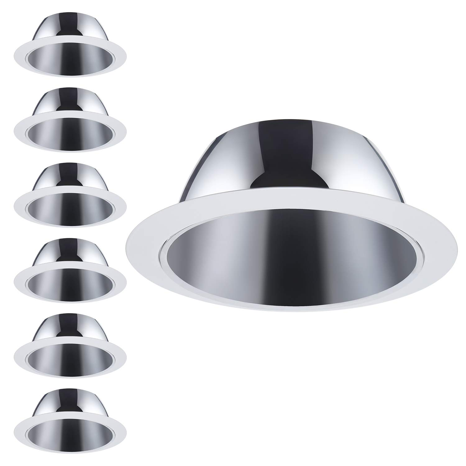 6 Pack 6 Inch Recessed Can Light Trim with Aluminum Reflector, for 6 inch Recessed Can, Detachable Iron Ring Included