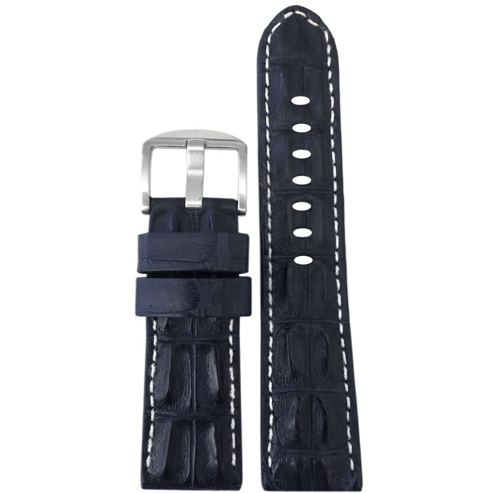 20mm XL Navy Genuine Hornback Alligator Watch Band with White Stitching by Panatime 135x85