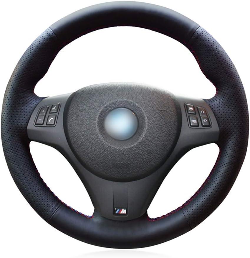 ZYTB Para la Cubierta del Volante del Coche Negro para BMW M Sport M3 E90 E91 E92 E93 E87 E81 E82 E88 X1 E84