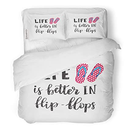 59ee9d4b435c99 Emvency Bedding Duvet Cover Set Life is Better in Flip Flops Letetring Text  and Pink Pair