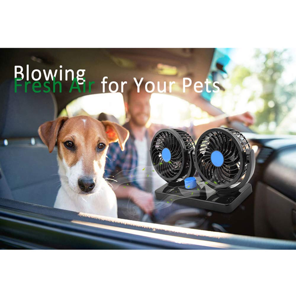 Taotuo 12V Electric Car Fan 360 Degree Rotatable Dual Head Car Auto Cooling Air Circulator Fan for Van SUV RV Boat Auto Vehicles