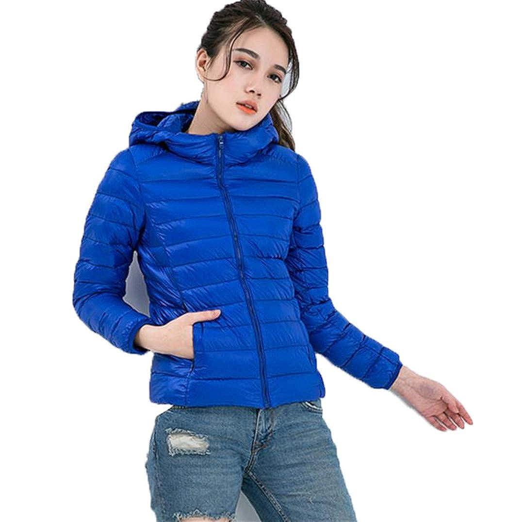 Bright bluee BiBOONES Winter Women's 90% Duck Down Hooded LongSleeved Warm UltraLight Down Jacket