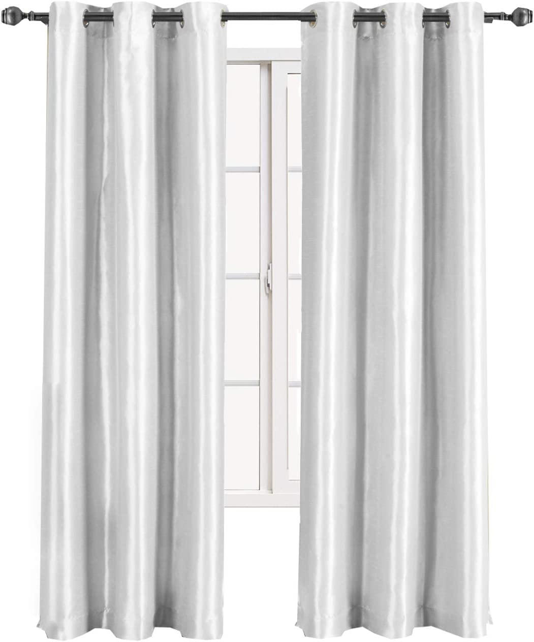 sheetsnthings Soho 42-Inch Wide x 108-Inch Long, Single Grommet Top Thermal Blackout Curtains, White
