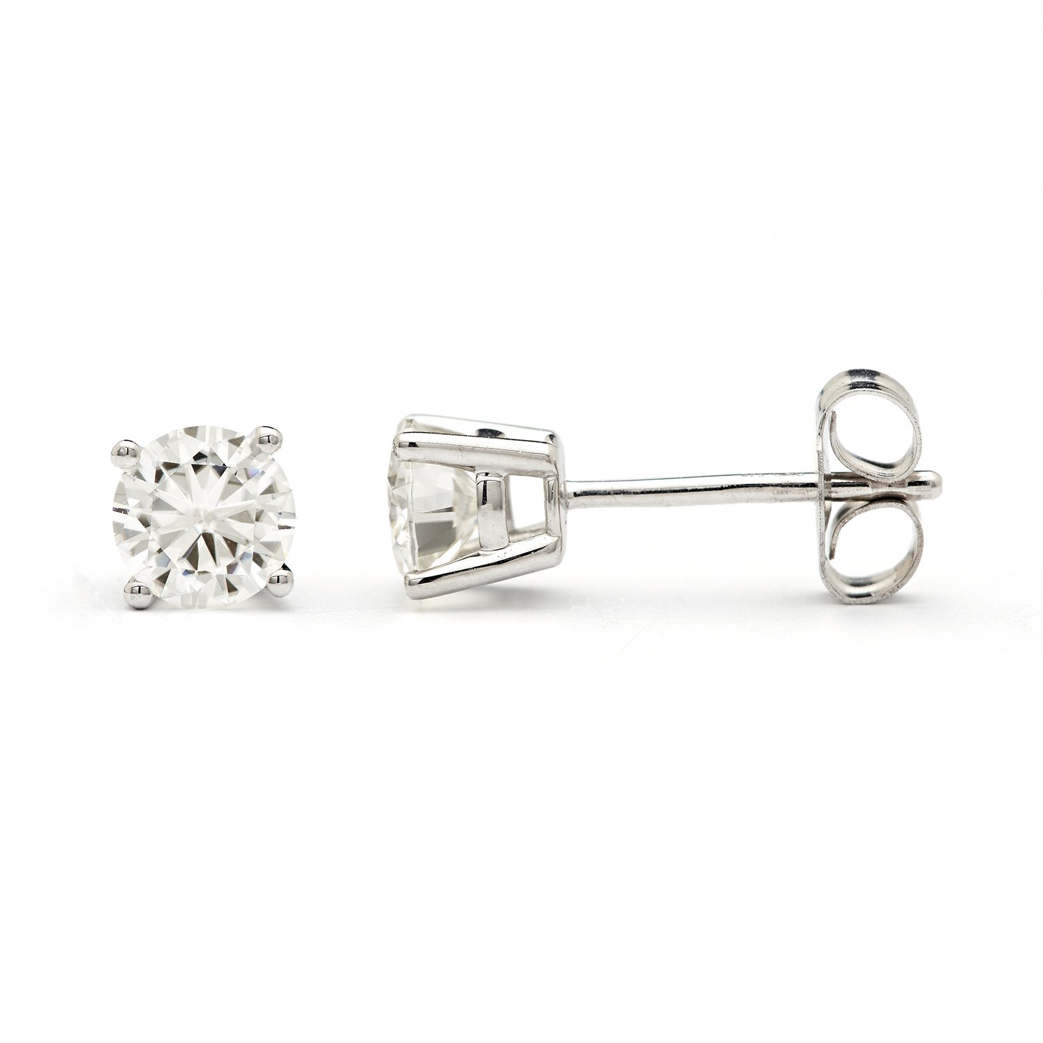 4.5mm Round Brilliant Cut Moissanite Sterling Silver Stud Earrings, 0.66cttw DEW By Charles & Colvard