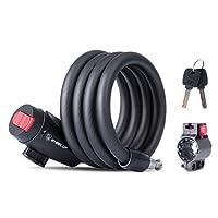 Câble antivol Eogro pour vélo, avec clé et support de fixation - Cadenas de sécurité - Accessoires pour VTT - Longueur: 119,4 cm