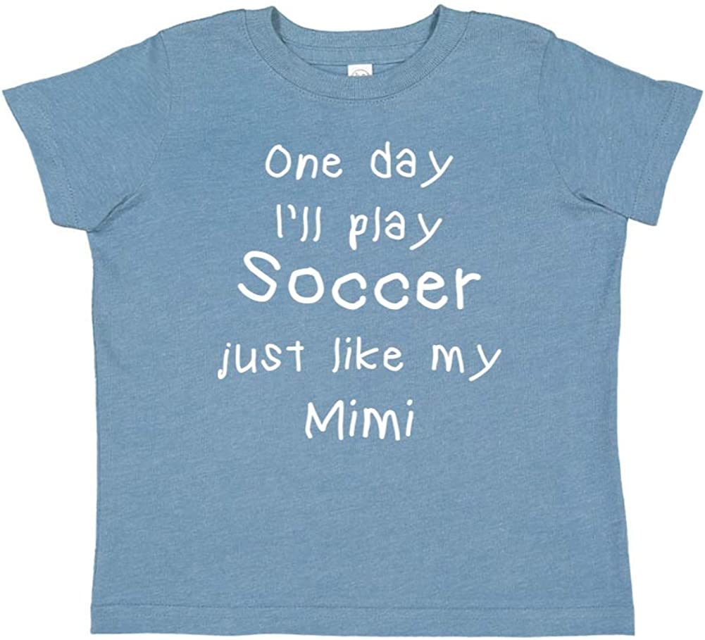 Toddler//Kids Short Sleeve T-Shirt One Day Ill Play Soccer Just Like My Mimi