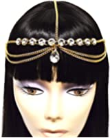 Gold Tone Womens Tear Drop Rhinestone Accent Head Chain Jewelry