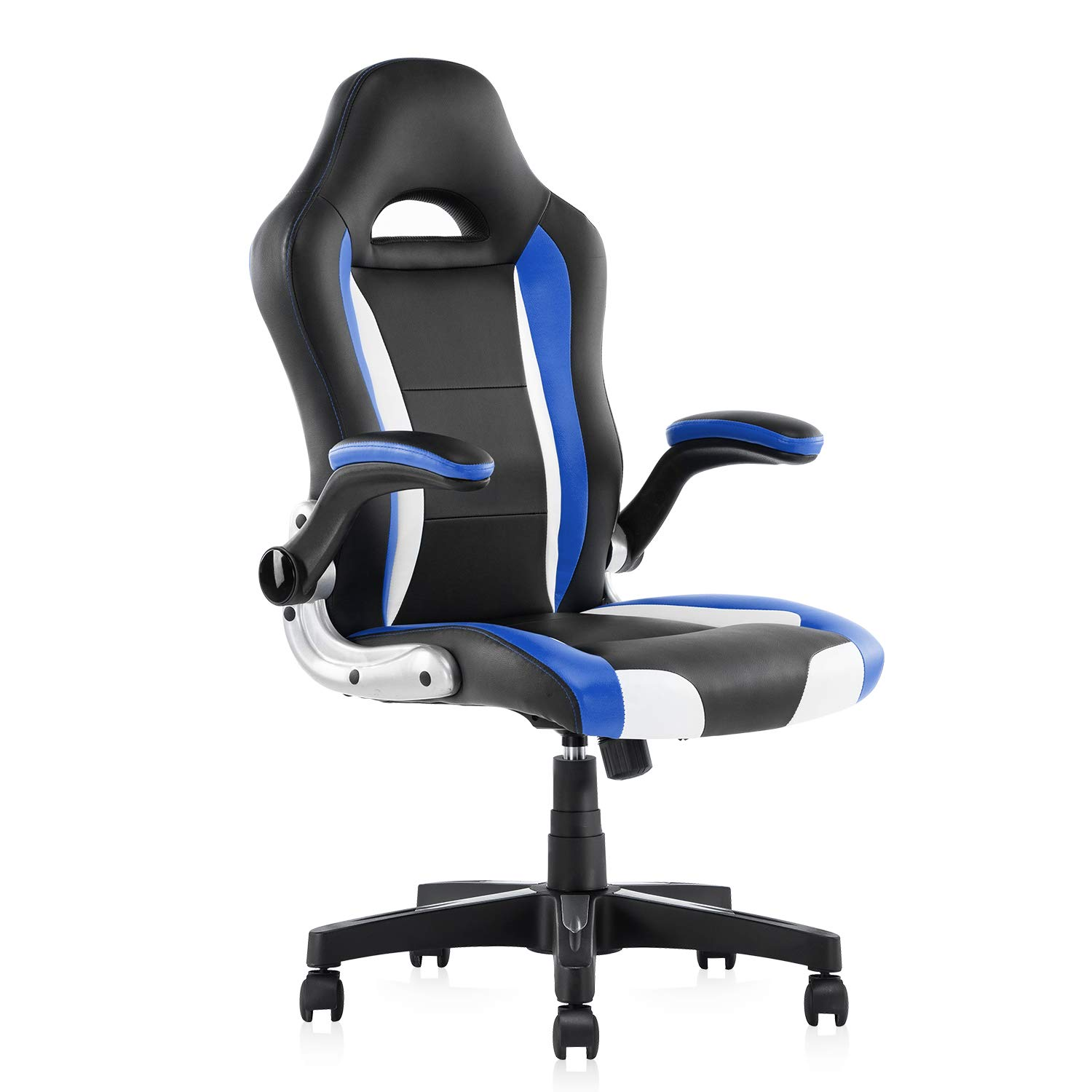 YAMASORO Leather Computer Gaming Chairs Ergonomic Office Desk Chairs with Flip up Arms and Wheels 300lbs Blue&Black by YAMASORO