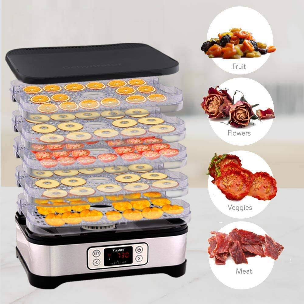 8 Etagen//400W Fleisch Frucht Gem/üsetrockner mit Timer Dehydrator D/örrger/ät f/ür Lebensmittel BPA-frei Meykey D/örrautomat mit Temperaturregler