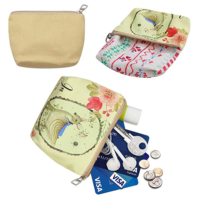 05 Flower Elephant Woosifun Women and Girls Cute Small Canvas Mini Card Hold Fashion Coin Purse Wallet Bag Change Pouch Key Holder with Zipper LST2