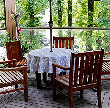 Do4U Waterproof Table Cloth Indoor/Outdoor Tablecloth With Zipper And  Umbrella Hole (60u0026quot;