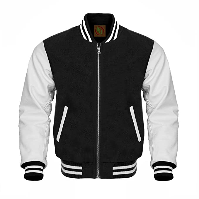 Amazon.com: Negro Lana Color Blanco piel Varsity – Chaqueta ...