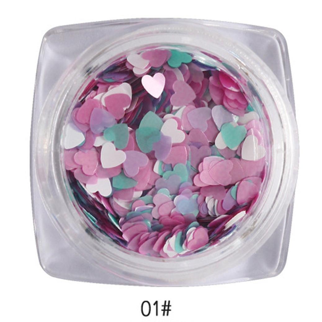 Nail Art,Putars Fashion Sexy 7g Mixed Heart Thin Nail Art Glitter Paillette Nail Tip Gel Polish Decoration (A)