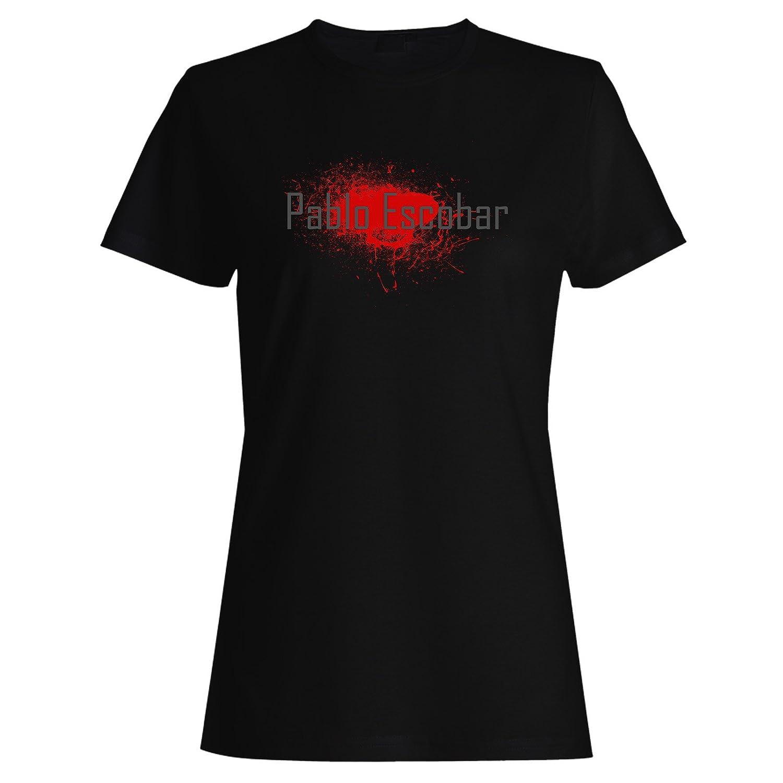 Pablo Escobar Medellín de sangre en negro camiseta de las mujeres p19f: Amazon.es: Ropa y accesorios