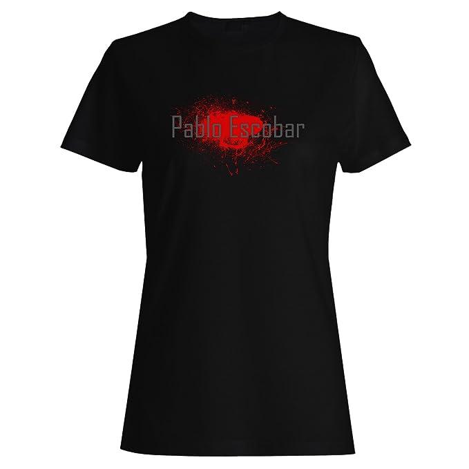 Pablo Escobar Medellín de sangre en negro camiseta de las mujeres p19f