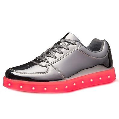 (Present:kleines Handtuch)Silber EU 38, leuchten 43, (Größe Lovers JUNGLEST® Herren Silber) LED Sportschuhe USB-Lade Glow Luminous Schuhe Turnsc