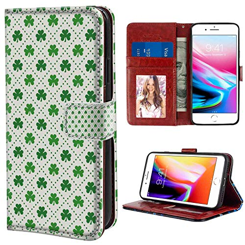 Irish Four Leaf Shamrock Clover Flowers with Dotted Dashed Lines National Culture Symbol Green White Print Leather Case for iPhone 8 Plus, iPhone 7 Plus [5.5in] Leather Case (Shamrock Phone Case)