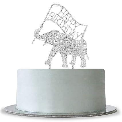 Amazon WeBenison Silver Happy Birthday Cake Topper Animal