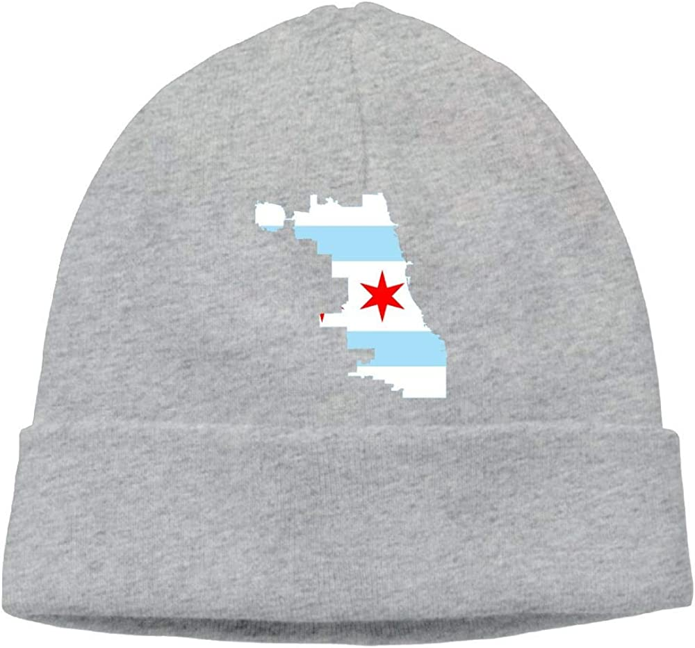 BF5Y3z/&MA Mens and Womens Flag Map of Chicago Knitting Hat Wool Skull Cap