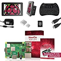 """Raspberry Pi 3 B+ (B Plus) Ultimate Kit – Complete Set Includes Raspberry pi Motherboard, 7"""" Touchscreen Display, Power Supply, 32GB SD Card, 2 Heatsinks, Official Case & 6ft HDMI Cable & Keyboard …"""