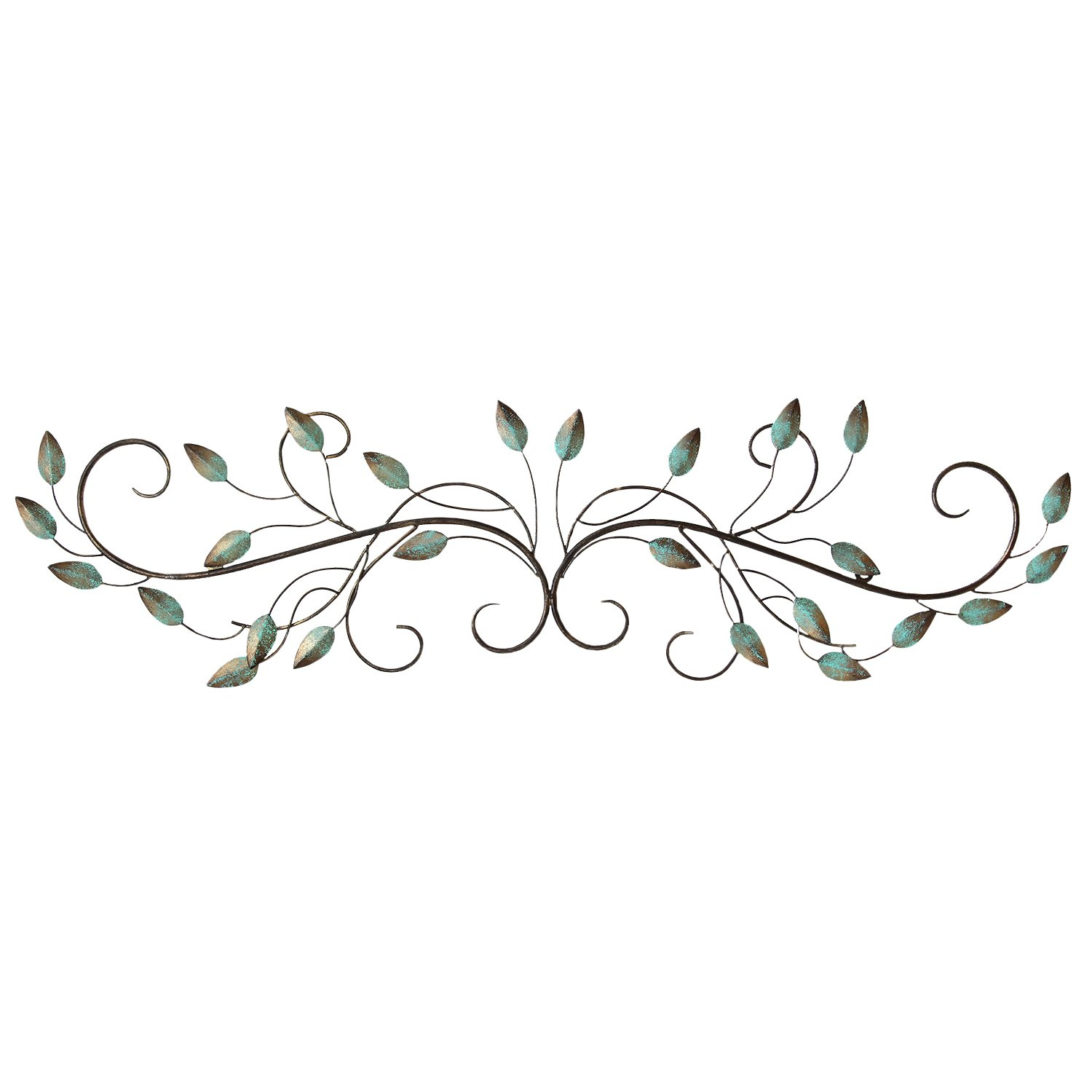 Stratton Home Decor SHD0065 Patina Scroll Leaf Wall Decor, 40.00 W X 1.00 D X 10.00 H,