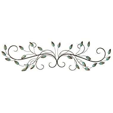 Stratton Home Decor SHD0065 Patina Scroll Leaf Wall Decor, 40.00 W X 1.00 D X 10.00 H,