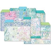 24 Floral Fun File Folder Value Pack - Set of 24 (6 designs) 1/3 Cut Staggered Tabs, Letter-Size Designed Folders