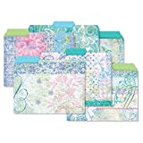 24 Floral Fun File Folder Value Pack - Set of 24 (6 Designs) 1/3 Cut Staggered Tabs, Letter-Size Designed Folders