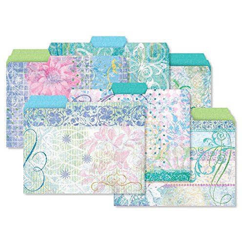 Design Folder - 24 Floral Fun File Folder Value Pack - Set of 24 (6 designs) 1/3 Cut Staggered Tabs, Letter-Size Designed Folders