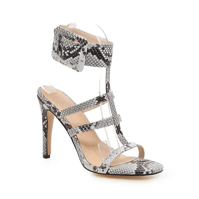 f11808ef Sandalias de Piel de Serpiente Sexy para Mujer Tacón Fino Vestido con  Tirantes Sandalias Correa con Hebilla T Zapatos: Amazon.es: Zapatos y  complementos