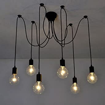 Lixada 6 Armseach With 17m Wire Antique Classic Edison Lamp Shade Ajustable