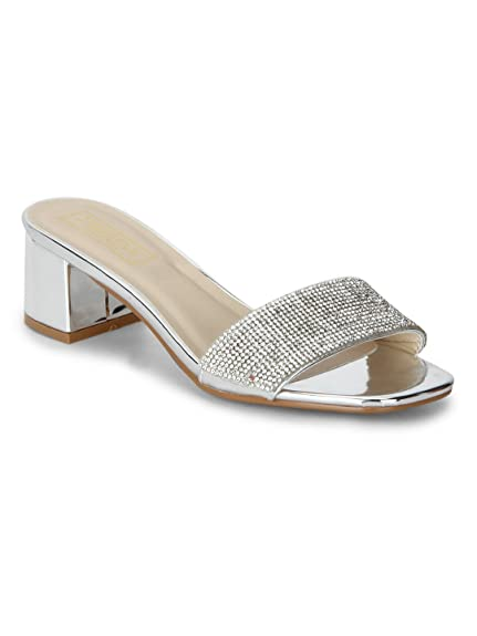 377d3d44c26 TRUFFLE COLLECTION Silver Mirror Low Block Sandal Heels  Buy Online at Low  Prices in India - Amazon.in