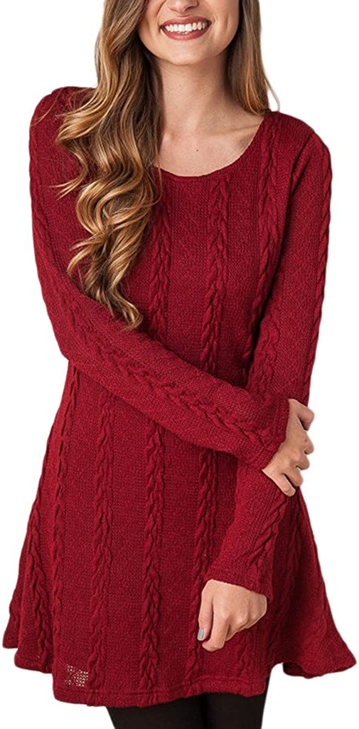 Mansy Womens Knitted Crewneck Sweater Dress
