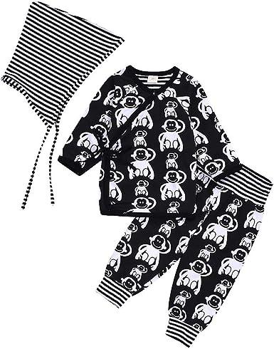 Pijamas Bebe Niños Jersey con Cuello En V Mono+Pantalones Largos+ ...