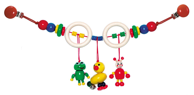 Hess Holzspielzeug 13068 - Wagenkette aus Holz, Ente und Frosch, ca. 47 cm Hess-Spielzeug 13068.0 Kinderwagen-Spielzeug