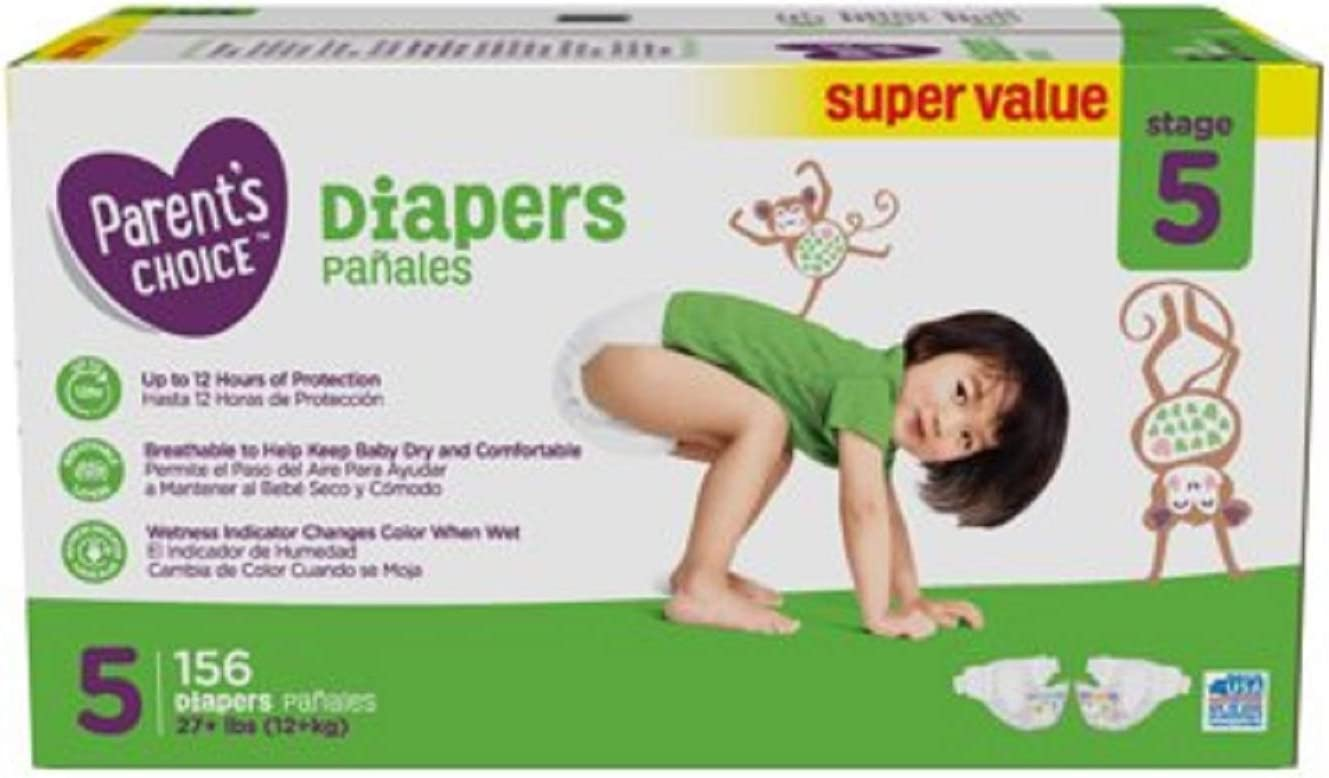 Amazon Com Parent S Choice Diapers Size 5 156 Diapers Kitchen Dining