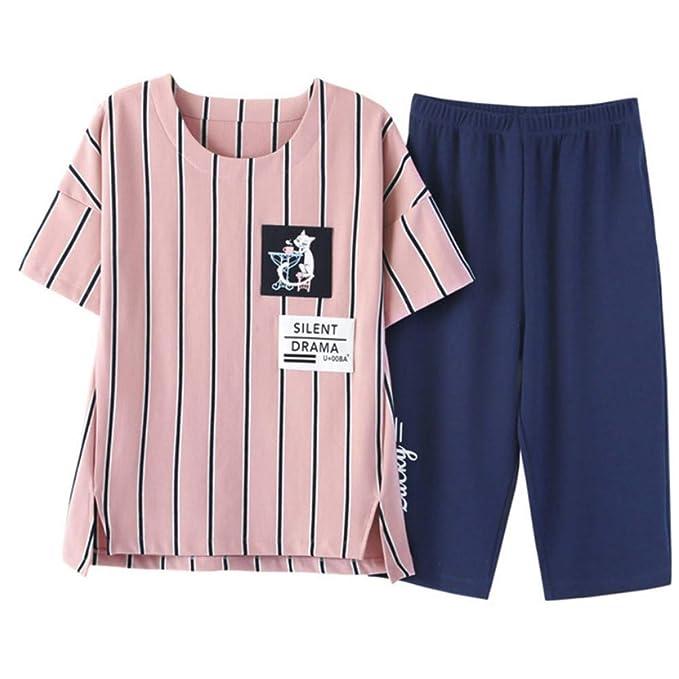 Meaeo Rayado Bolsillo Gato Homewear Mujeres Niñas Pijamas Algodón Pijama Conjunto Manga Corta Cintura Elástica Lounge: Amazon.es: Ropa y accesorios