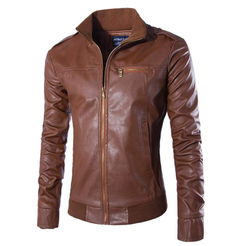NRUTUP Clearance Winter Clothing Mens Casual Jacket Long Sleeve Solid Stand Zipper Leather Warm Top Suits /& Sport Coats
