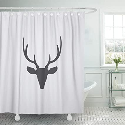 Emvency Shower Curtain 72x72 Inch Home Decor Ears Deer Head In Flat Black Color Animal Antler