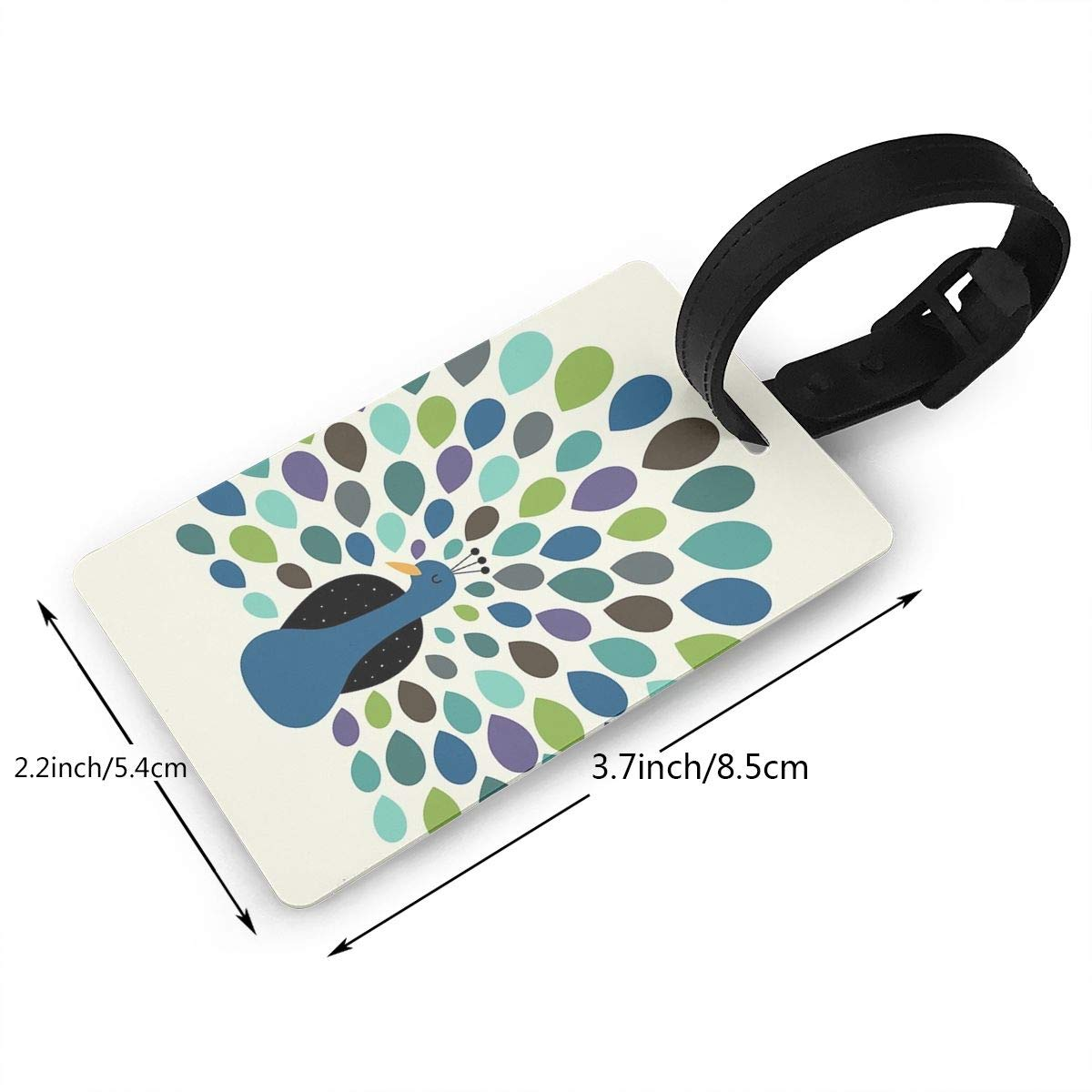 Set of 2 Peacock Time Luggage Tags Suitcase Labels Bag Travel Accessories