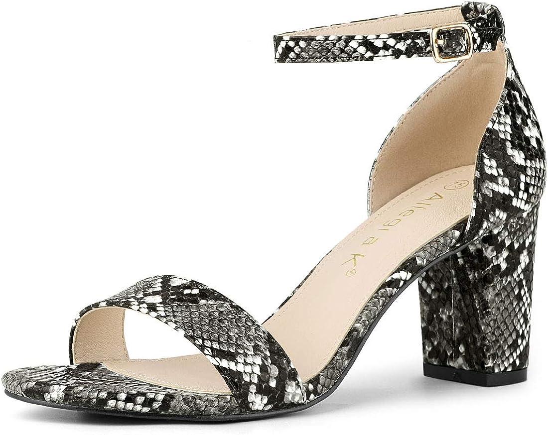 Allegra K Women's Snakeskin Heels Ankle