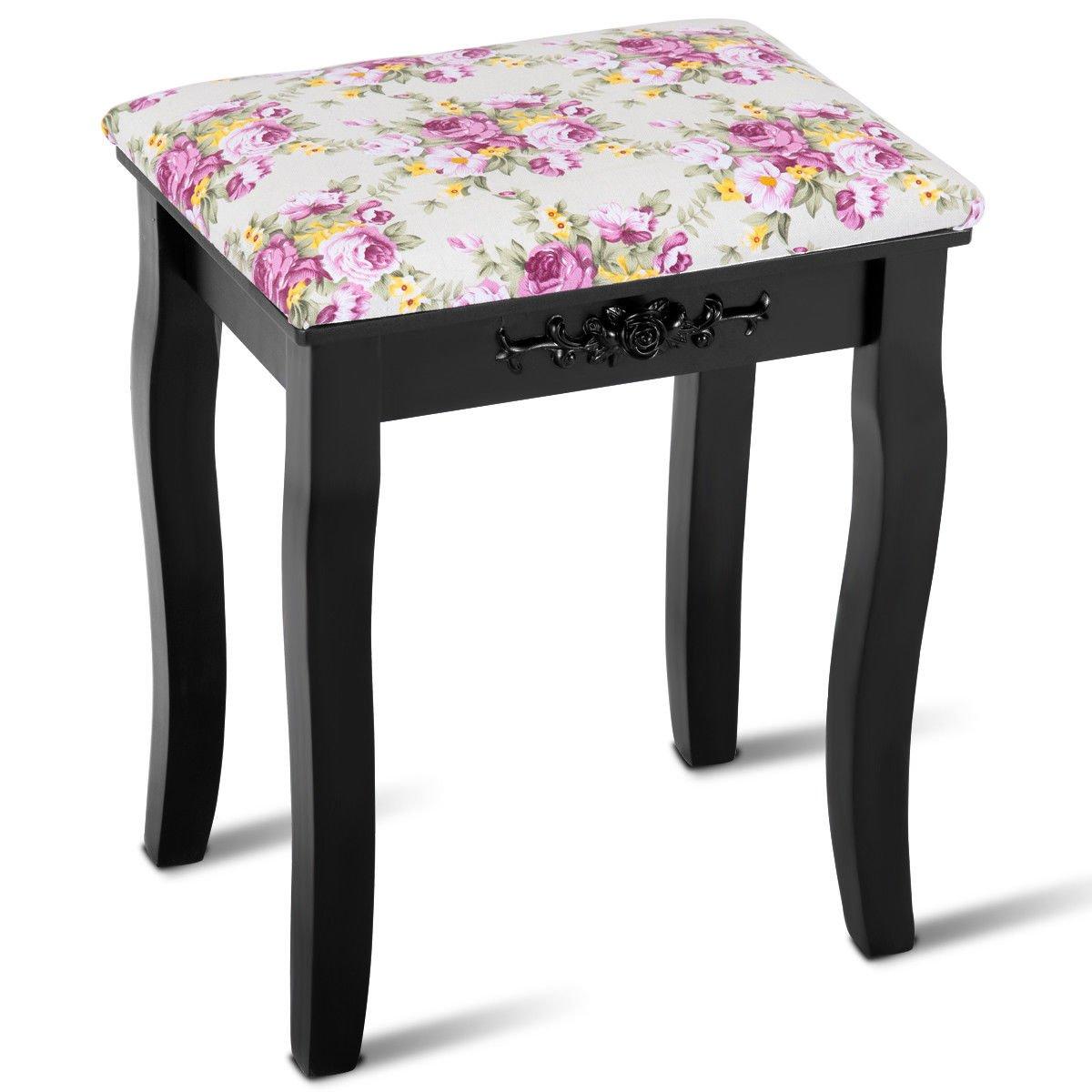 Giantex Vanity Stool Wood Dressing Padded Chair Makeup Piano Seat Make Up Bench w/Rose cushion (Black)